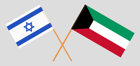 Kuwait and Israel. Kuwaiti and Israeli flags. Official colors. Correct proportion. Vector illustration