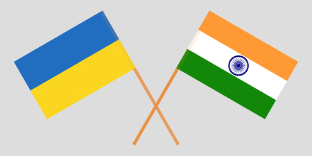 Ukraine and India. Ukrainian and Indian flags. Official colors. Correct proportion. Vector illustration