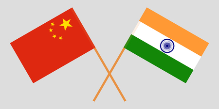 China and India. Chinese and Indian flags. Official colors. Correct proportion. Vector illustration