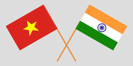 Socialist Republic of Vietnam and India. The Vietnamese and Indian flags. Official colors. Correct proportion. Vector illustration