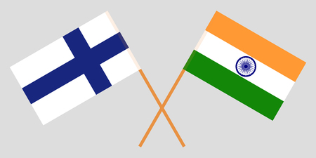 Finland and India. Finnish and Indian flags. Official colors. Correct proportion. Vector illustration