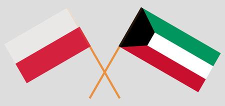 Kuwait and Poland. Kuwaiti and Polish flags. Official colors. Correct proportion. Vector illustration Vektoros illusztráció