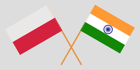 Poland and India. Polish and Indian flags. Official colors. Correct proportion. Vector illustration