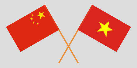 Socialist Republic of Vietnam and China. The Vietnamese and Chinese flags. Official colors. Correct proportion. Vector illustration