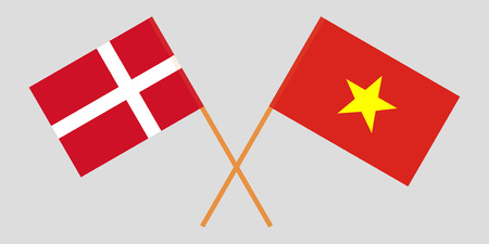 Socialist Republic of Vietnam and Denmark. The Vietnamese and Danish flags. Official colors. Correct proportion. Vector illustration