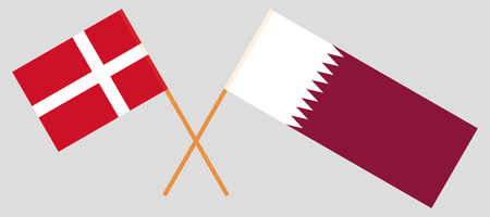 Qatar and Denmark. The Qatari and Danish flags. Official colors. Correct proportion. Vector illustration