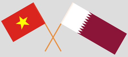 Qatar and Vietnam. The Qatari and Vietnamese flags. Official colors. Correct proportion. Vector illustration Stock Vector - 110976354