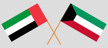 Koweït et Emirats Arabes Unis. Drapeaux du Koweït et des Émirats arabes unis. Couleurs officielles. Proportion correcte. Illustration vectorielle