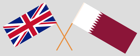 Qatar and UK. The Qatari and British flags. Official colors. Correct proportion. Vector illustration