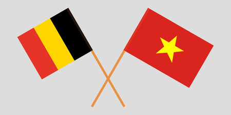 Socialist Republic of Vietnam and Belgium. The Vietnamese and Belgian flags. Official colors. Correct proportion. Vector illustration
