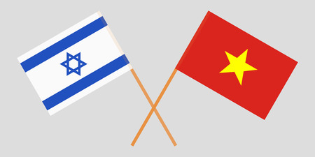 Socialist Republic of Vietnam and Israel. The Vietnamese and Israeli flags. Official colors. Correct proportion. Vector illustration