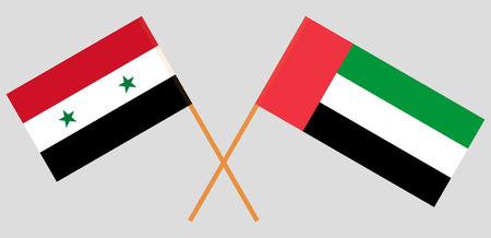 Syria and United Arab Emirates. Syrian and UAE flags. Official colors. Correct proportion. Vector illustration