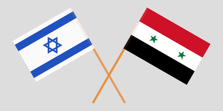 Crossed Syrian Arab Republic and Israel flags. Official colors. Correct proportion. Vector illustration
