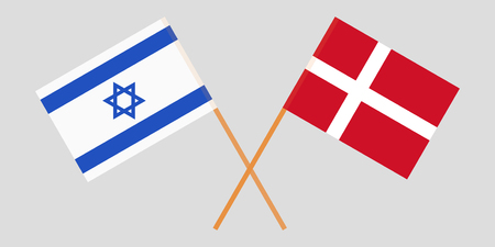 Israel and Denmark. Israeli and Danish flags. Official colors. Correct proportion. Vector illustration Ilustrace