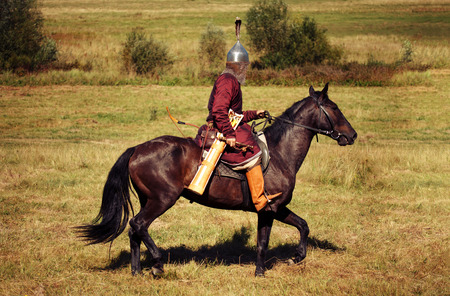Medieval armored knight on horse from fantasy. Equestrian soldier in historical costume is in the summer field Stock Photo
