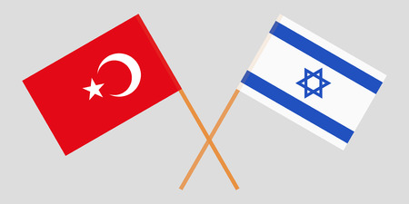 Crossed flags  Israel and Italy. Official colors. Correct proportion. Vector illustration Ilustração
