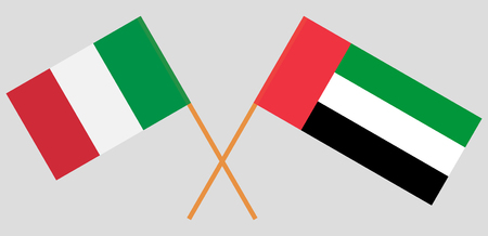 Italy and United Arab Emirates. The Italian and UAE flags. Official colors. Correct proportion. Vector illustration