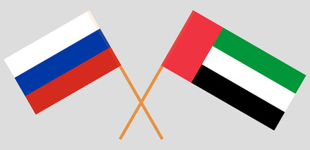 Russia and United Arab Emirates. The Russian and UAE flags. Official colors. Correct proportion. Vector illustration Ilustração