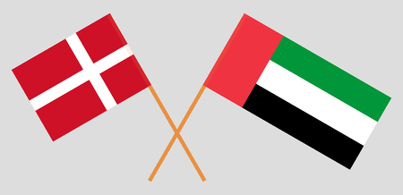 Denmark and United Arab Emirates. Danish and UAE flags. Official colors. Correct proportion. Vector illustration Ilustrace