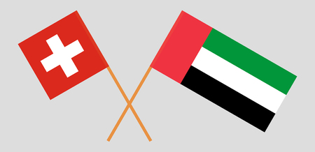 Switzerland and United Arab Emirates. The Swiss and UAE flags. Official colors. Correct proportion. Vector illustration