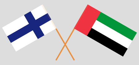 Finland and United Arab Emirates. The Finnish and UAE flags. Official colors. Correct proportion. Vector illustration  イラスト・ベクター素材