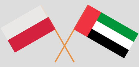 Poland and United Arab Emirates. Polish and UAE flags. Official colors. Correct proportion. Vector illustration