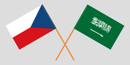 Kingdom of Saudi Arabia and Czechia. The KSA and Czech flags. Official proportion. Correct colors. Vector illustration