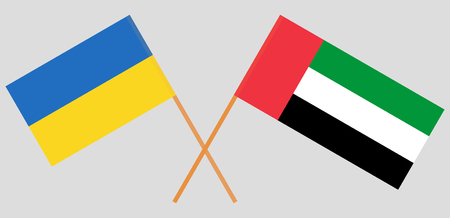 Ukraine and United Arab Emirates. The Ukrainian and UAE flags. Official colors. Correct proportion. Vector illustration