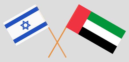 Israel and United Arab Emirates. The Israeli UAE flags. Official colors. Correct proportion. Vector illustration Ilustração