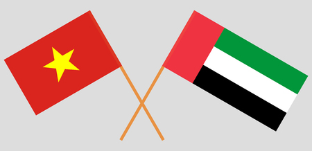 Vietnam and United Arab Emirates. The Vietnamese and UAE flags. Official colors. Correct proportion. Vector illustration