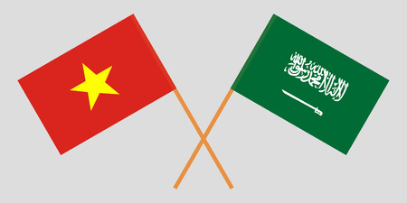 Kingdom of Saudi Arabia and Vietnam. The KSA and Vietnamese flags. Official proportion. Correct colors. Vector illustration