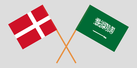 Kingdom of Saudi Arabia and Denmark. The KSA and Danish flags. Official proportion. Correct colors. Vector illustration