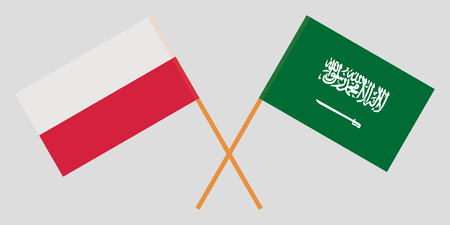 Kingdom of Saudi Arabia and Poland. The KSA and Polish flags. Official proportion. Correct colors. Vector illustration