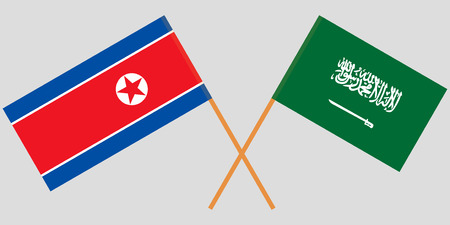 Kingdom of Saudi Arabia and North Korea. The KSA and Korean flags. Official proportion. Correct colors. Vector illustration