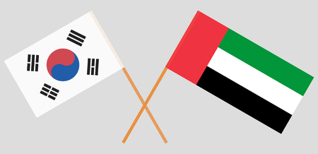 South Korea and United Arab Emirates. The Korean UAE flags. Official colors. Correct proportion. Vector illustration
