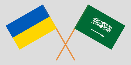Kingdom of Saudi Arabia and Ukraine. The KSA and Ukrainian flags. Official proportion. Correct colors. Vector illustration
