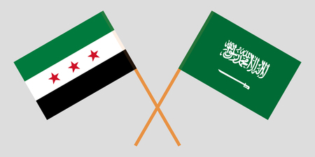 Kingdom of Saudi Arabia and Syrian National Coalition. The Syria opposition and KSA flags. Official proportion. Correct colors. Vector illustration