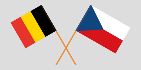 Crossed  flags of Czech Republic and Belgium. Official colors. Correct proportion. Vector illustration