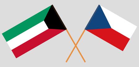 Crossed  flags of Czech Republic and Kuwait. Official colors. Correct proportion. Vector illustration Ilustração