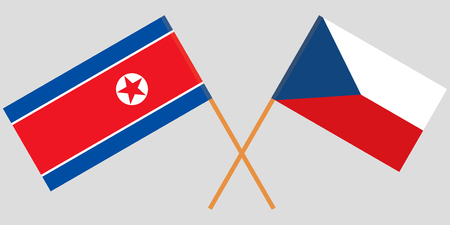 Crossed  flags of Czech Republic and North Korea. Official colors. Correct proportion. Vector illustration