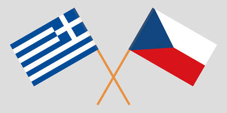 Crossed  flags of Czech Republic and Greece. Official colors. Correct proportion. Vector illustration 向量圖像