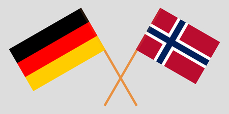 Norway and Germany. The Norwegian and German flags. Official proportion. Correct colors. Vector illustration