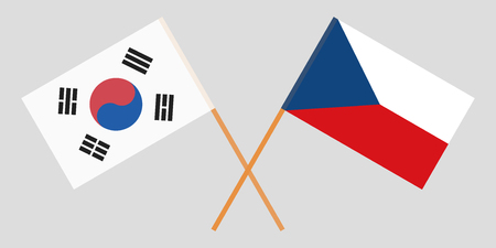 Crossed  flags of Czech Republic and South Korea. Official colors. Correct proportion. Vector illustration  イラスト・ベクター素材