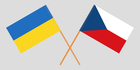 Crossed  flags of Czech Republic and Ukraine. Official colors. Correct proportion. Vector illustration