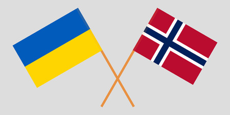 Norway and Ukraine. The Norwegian and Ukrainian flags. Official proportion. Correct colors. Vector illustration