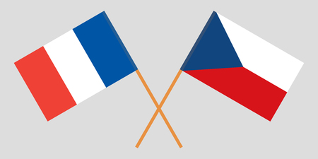 Crossed  flags of Czech Republic and France. Official colors. Correct proportion. Vector illustration