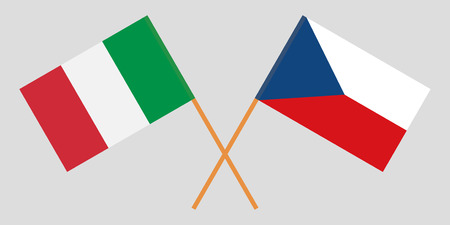 Crossed  flags of Czech Republic and Italy. Official colors. Correct proportion. Vector illustration