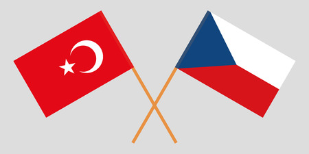 Crossed  flags of Czech Republic and Turkey. Official colors. Correct proportion. Vector illustration