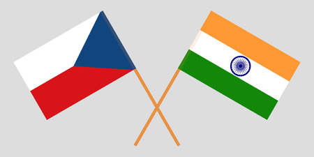 Czech Republic and India. The Tschechien and Indian flags. Official colors. Correct proportion. Vector illustration