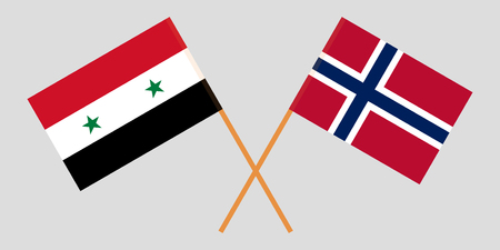 Norway and Syria. The Norwegian and Syrian flags. Official proportion. Correct colors. Vector illustration Stok Fotoğraf - 111698026
